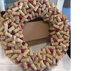 Wreath made from wine corks